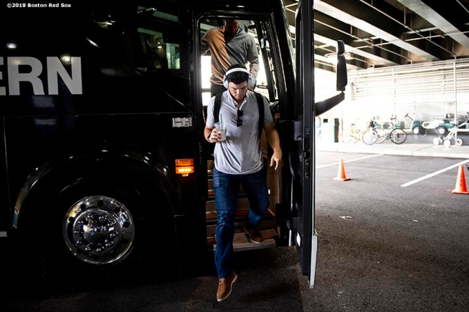SEATTLE, WA - MARCH 28: Andrew Benintendi #16 of the Boston Red Sox arrives before the 2019 Opening day game against the Seattle Mariners at T-Mobile Park in Seattle, Washington on March 28, 2019. (Photo by Billie Weiss/Boston Red Sox/Getty Images) *** Local Caption *** Andrew Benintendi