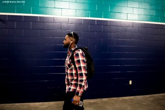 SEATTLE, WA - MARCH 28: Jackie Bradley Jr. #19 of the Boston Red Sox arrives before the 2019 Opening day game against the Seattle Mariners at T-Mobile Park in Seattle, Washington on March 28, 2019. (Photo by Billie Weiss/Boston Red Sox/Getty Images) *** Local Caption *** Jackie Bradley Jr.