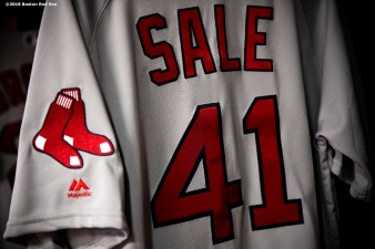 SEATTLE, WA - MARCH 28: The jersey of Chris Sale #41 of the Boston Red Sox is displayed before the 2019 Opening day game against the Seattle Mariners at T-Mobile Park in Seattle, Washington on March 28, 2019. (Photo by Billie Weiss/Boston Red Sox/Getty Images) *** Local Caption *** Chris Sale