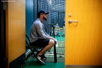 SEATTLE, WA - MARCH 28: Blake Swihart #23 of the Boston Red Sox looks on in the batting cage before the 2019 Opening day game against the Seattle Mariners at T-Mobile Park in Seattle, Washington on March 28, 2019. (Photo by Billie Weiss/Boston Red Sox/Getty Images) *** Local Caption *** Blake Swihart
