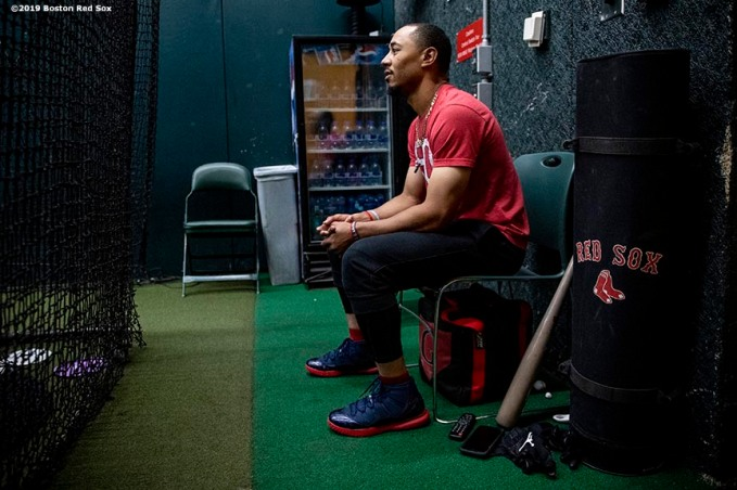 SEATTLE, WA - MARCH 28: Mookie Betts #50 of the Boston Red Sox looks on in the batting cage before the 2019 Opening day game against the Seattle Mariners at T-Mobile Park in Seattle, Washington on March 28, 2019. (Photo by Billie Weiss/Boston Red Sox/Getty Images) *** Local Caption *** Mookie Betts