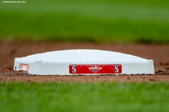 SEATTLE, WA - MARCH 28: A base is shown during the 2019 Opening day game between the Boston Red Sox the Seattle Mariners at T-Mobile Park on March 28, 2019 in Seattle, Washington. (Photo by Billie Weiss/Boston Red Sox/Getty Images) *** Local Caption ***