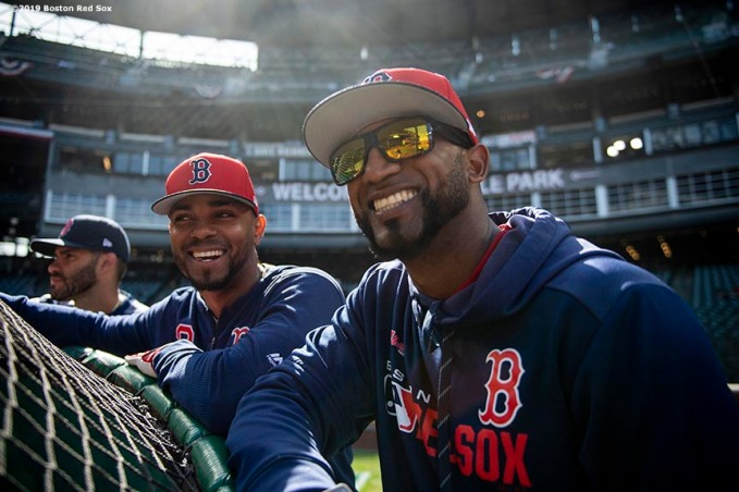 SEATTLE, WA - MARCH 28: Xander Bogaerts #2 and Eduardo Nunez #36 of the Boston Red Sox react before the 2019 Opening day game against the Seattle Mariners at T-Mobile Park in Seattle, Washington on March 28, 2019. (Photo by Billie Weiss/Boston Red Sox/Getty Images) *** Local Caption *** Xander Bogaerts; Eduardo Nunez