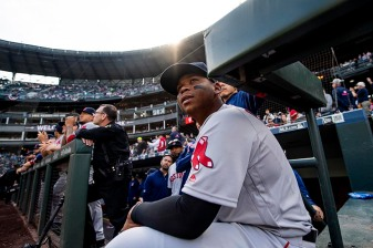 SEATTLE, WA - MARCH 28: Rafael Devers #11 of the Boston Red Sox looks on before the 2019 Opening day game against the Seattle Mariners at T-Mobile Park in Seattle, Washington on March 28, 2019. (Photo by Billie Weiss/Boston Red Sox/Getty Images) *** Local Caption *** Rafael Devers
