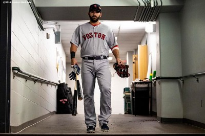 SEATTLE, WA - MARCH 28: Mitch Moreland #18 of the Boston Red Sox walks through tunnel before the 2019 Opening day game against the Seattle Mariners at T-Mobile Park in Seattle, Washington on March 28, 2019. (Photo by Billie Weiss/Boston Red Sox/Getty Images) *** Local Caption *** Mitch Moreland