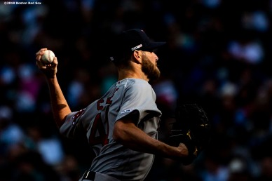 SEATTLE, WA - MARCH 28: Chris Sale #41 of the Boston Red Sox delivers during the first inning of the 2019 Opening day game against the Seattle Mariners at T-Mobile Park on March 28, 2019 in Seattle, Washington. (Photo by Billie Weiss/Boston Red Sox/Getty Images) *** Local Caption *** Chris Sale
