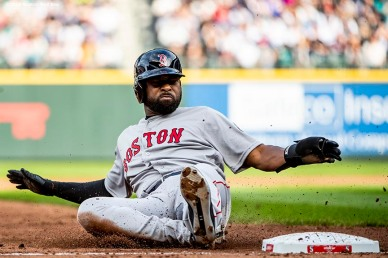SEATTLE, WA - MARCH 28: Jackie Bradley Jr. #19 of the Boston Red Sox slides as he steals third base during the second inning of the 2019 Opening day game against the Seattle Mariners at T-Mobile Park on March 28, 2019 in Seattle, Washington. (Photo by Billie Weiss/Boston Red Sox/Getty Images) *** Local Caption *** Jackie Bradley Jr.