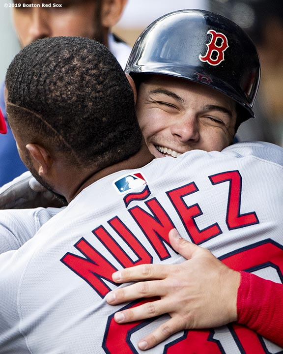 SEATTLE, WA - MARCH 28: Andrew Benintendi #16 of the Boston Red Sox reacts with Eduardo Nunez #36 after scoring during the second inning of the 2019 Opening day game against the Seattle Mariners at T-Mobile Park on March 28, 2019 in Seattle, Washington. (Photo by Billie Weiss/Boston Red Sox/Getty Images) *** Local Caption *** Andrew Benintendi; Eduardo Nunez