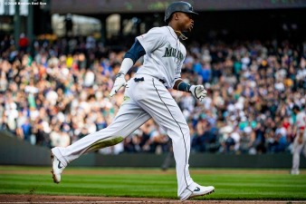 SEATTLE, WA - MARCH 28: Tim Beckham #1 of the Seattle Mariners rounds the bases after hitting a home run during the third inning of the 2019 Opening day game against the Boston Red Sox at T-Mobile Park on March 28, 2019 in Seattle, Washington. It was his second home run of the game. (Photo by Billie Weiss/Boston Red Sox/Getty Images) *** Local Caption *** Tim Beckham