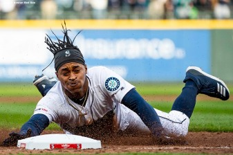 SEATTLE, WA - MARCH 28: Mallex Smith #0 of the Seattle Mariners slides into third base after hitting a triple during the third inning of the 2019 Opening day game against the Boston Red Sox at T-Mobile Park on March 28, 2019 in Seattle, Washington. (Photo by Billie Weiss/Boston Red Sox/Getty Images) *** Local Caption *** Mallex Smith