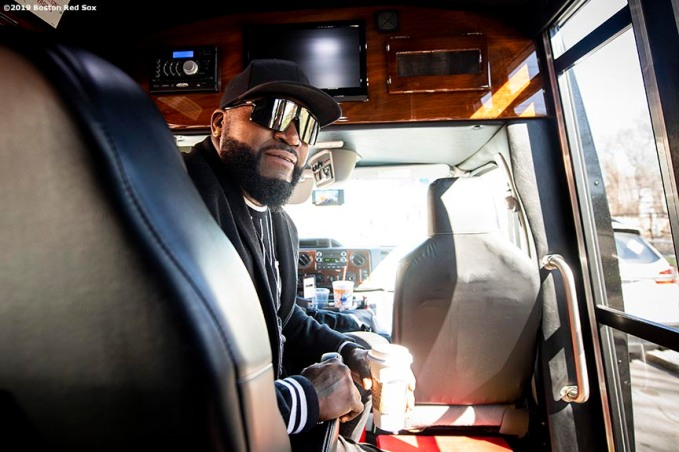 April 4, 2019 , Boston, MA: Former Boston Red Sox designated hitter David Ortiz reacts in the van before a visit to the Sarah Greenwood School in Dorchester, Massachusetts Thursday, April 4, 2019. (Photo by Billie Weiss/Boston Red Sox)