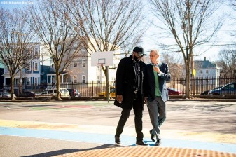 April 4, 2019 , Boston, MA: Boston Red Sox President & CEO Sam Kennedy walks with former Boston Red Sox designated hitter David Ortiz before a visit to the Sarah Greenwood School in Dorchester, Massachusetts Thursday, April 4, 2019. (Photo by Billie Weiss/Boston Red Sox)