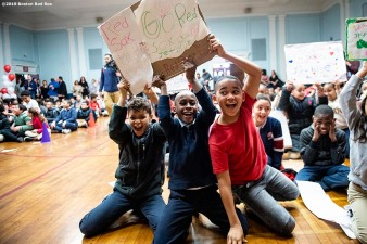 April 4, 2019 , Boston, MA: Students reacts during a visit to the Sarah Greenwood School in Dorchester, Massachusetts Thursday, April 4, 2019. (Photo by Billie Weiss/Boston Red Sox)
