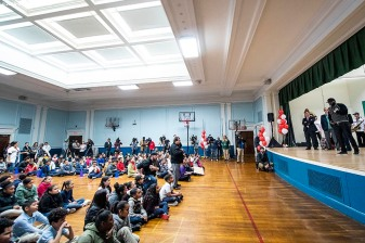 April 4, 2019 , Boston, MA: Former Boston Red Sox designated hitter David Ortiz speaks during a visit to the Sarah Greenwood School in Dorchester, Massachusetts Thursday, April 4, 2019. (Photo by Billie Weiss/Boston Red Sox)