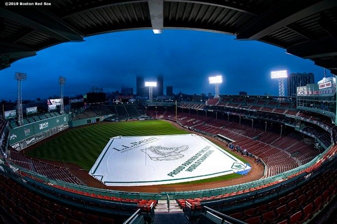 BOSTON, MA - APRIL 9: The sun rises over Fenway Park before the Opening Day game between the Boston Red Sox and the Toronto Blue Jays on April 9, 2019 at Fenway Park in Boston, Massachusetts. (Photo by Billie Weiss/Boston Red Sox/Getty Images) *** Local Caption ***