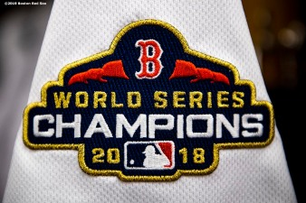 BOSTON, MA - APRIL 9: The World Series Champions logo of the Boston Red Sox is shown on a jersey before the Opening Day game against the Toronto Blue Jays on April 9, 2019 at Fenway Park in Boston, Massachusetts. (Photo by Billie Weiss/Boston Red Sox/Getty Images) *** Local Caption ***
