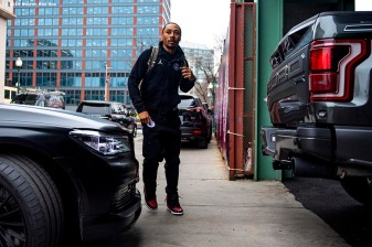 BOSTON, MA - APRIL 9: Mookie Betts #50 of the Boston Red Sox arrives before the Opening Day game against the Toronto Blue Jays on April 9, 2019 at Fenway Park in Boston, Massachusetts. (Photo by Billie Weiss/Boston Red Sox/Getty Images) *** Local Caption *** Mookie Betts