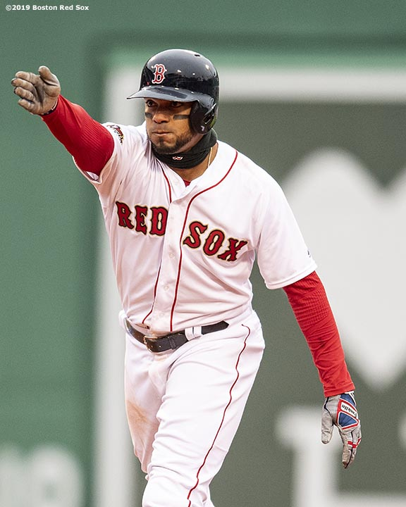 BOSTON, MA - APRIL 9: Xander Bogaerts #2 of the Boston Red Sox reacts after hitting a double during the eighth inning of the Opening Day game against the Toronto Blue Jays on April 9, 2019 at Fenway Park in Boston, Massachusetts. (Photo by Billie Weiss/Boston Red Sox/Getty Images) *** Local Caption *** Xander Bogaerts