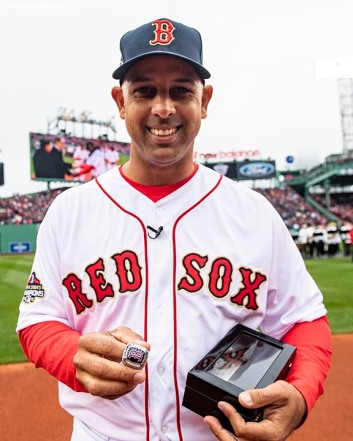 BOSTON, MA - APRIL 9: Manager Alex Cora of the Boston Red Sox poses with his ring during a 2018 World Series championship ring ceremony before the Opening Day game against the Toronto Blue Jays on April 9, 2019 at Fenway Park in Boston, Massachusetts. (Photo by Billie Weiss/Boston Red Sox/Getty Images) *** Local Caption *** Alex Cora