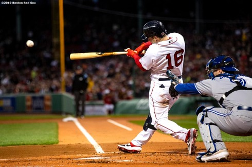BOSTON, MA - APRIL 11: Andrew Benintendi #16 of the Boston Red Sox hits a single during the first inning of a game against the Toronto Blue Jays on April 11, 2019 at Fenway Park in Boston, Massachusetts. (Photo by Billie Weiss/Boston Red Sox/Getty Images) *** Local Caption *** Andrew Benintendi