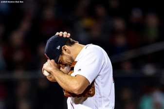 BOSTON, MA - APRIL 11: Nathan Eovaldi #17 of the Boston Red Sox reacts after allowing a three run home run during the third inning of a game against the Toronto Blue Jays on April 11, 2019 at Fenway Park in Boston, Massachusetts. (Photo by Billie Weiss/Boston Red Sox/Getty Images) *** Local Caption *** Nathan Eovaldi