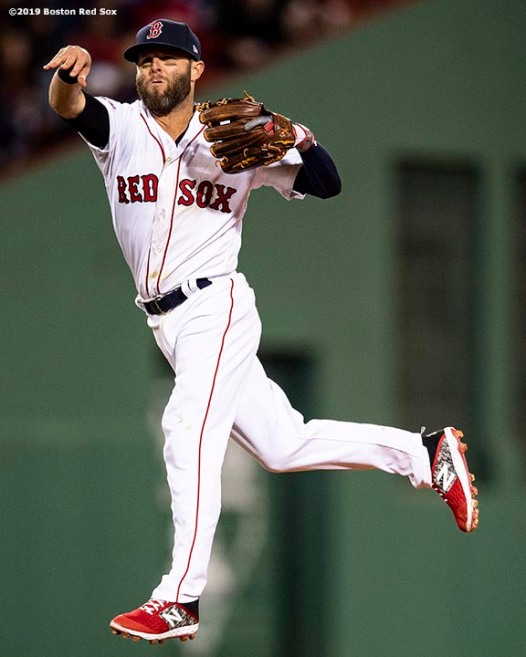 BOSTON, MA - APRIL 11: Dustin Pedroia #15 of the Boston Red Sox throws during the seventh inning of a game against the Toronto Blue Jays on April 11, 2019 at Fenway Park in Boston, Massachusetts. (Photo by Billie Weiss/Boston Red Sox/Getty Images) *** Local Caption *** Dustin Pedroia