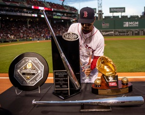 BOSTON, MA - APRIL 11: Mookie Betts #50 of the Boston Red Sox is presented with his 2018 season awards before a game against the Toronto Blue Jays on April 11, 2019 at Fenway Park in Boston, Massachusetts. (Photo by Billie Weiss/Boston Red Sox/Getty Images) *** Local Caption *** Mookie Betts
