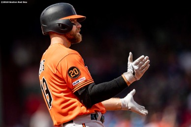 BOSTON, MA - APRIL 13: Chris Davis #19 of the Baltimore Orioles reacts after hitting an RBI single during the first inning of a game against the Boston Red Sox on April 13, 2019 at Fenway Park in Boston, Massachusetts. (Photo by Billie Weiss/Boston Red Sox/Getty Images) *** Local Caption *** Chris Davis
