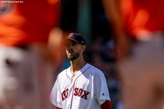 BOSTON, MA - APRIL 13: Rick Porcello #22 of the Boston Red Sox reacts during the fourth inning of a game against the Baltimore Orioles on April 13, 2019 at Fenway Park in Boston, Massachusetts. (Photo by Billie Weiss/Boston Red Sox/Getty Images) *** Local Caption *** Rick Porcello
