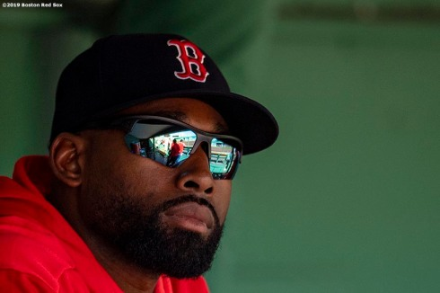 BOSTON, MA - APRIL 13: Jackie Bradley Jr. #19 of the Boston Red Sox looks on during the fifth inning of a game against the Baltimore Orioles on April 13, 2019 at Fenway Park in Boston, Massachusetts. (Photo by Billie Weiss/Boston Red Sox/Getty Images) *** Local Caption *** Jackie Bradley Jr.