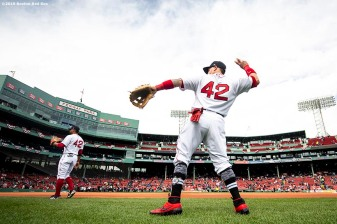BOSTON, MA - APRIL 15: Christian Vazquez #7 of the Boston Red Sox warms up before a game against the Baltimore Orioles on April 15, 2019 at Fenway Park in Boston, Massachusetts. (Photo by Billie Weiss/Boston Red Sox/Getty Images) *** Local Caption *** Christian Vazquez