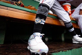 BOSTON, MA - APRIL 15: The socks of Mookie Betts #50 of the Boston Red Sox recognizing Jackie Robinson Day are shown before a game against the Baltimore Orioles on April 15, 2019 at Fenway Park in Boston, Massachusetts. (Photo by Billie Weiss/Boston Red Sox/Getty Images) *** Local Caption *** Mookie Betts