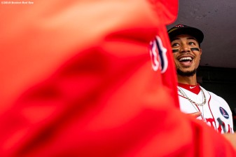 BOSTON, MA - APRIL 15: Mookie Betts #50 of the Boston Red Sox reacts before a game against the Baltimore Orioles on April 15, 2019 at Fenway Park in Boston, Massachusetts. (Photo by Billie Weiss/Boston Red Sox/Getty Images) *** Local Caption *** Mookie Betts