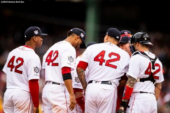 BOSTON, MA - APRIL 15: Members of the Boston Red Sox display the number 42 in recognition of Jackie Robinson Day during a game against the Baltimore Orioles on April 15, 2019 at Fenway Park in Boston, Massachusetts. (Photo by Billie Weiss/Boston Red Sox/Getty Images) *** Local Caption ***