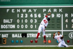 BOSTON, MA - APRIL 15: Steve Pearce #25 and Xander Bogaerts #2 of the Boston Red Sox both reach to catch a fly ball during the sixth inning of a game against the Baltimore Orioles on April 15, 2019 at Fenway Park in Boston, Massachusetts. (Photo by Billie Weiss/Boston Red Sox/Getty Images) *** Local Caption *** Steve Pearce; Xander Bogaerts