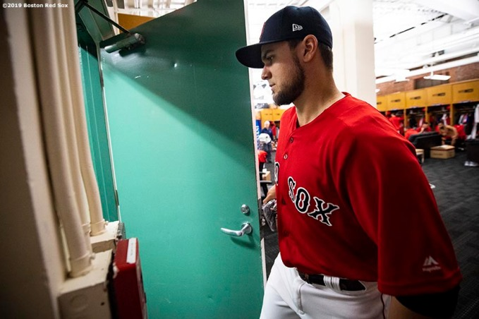 BOSTON, MA - APRIL 23: Michael Chavis #23 of the Boston Red Sox exits the clubhouse during his Fenway Park debut before a game against the Detroit Tigers on April 23, 2019 at Fenway Park in Boston, Massachusetts. (Photo by Billie Weiss/Boston Red Sox/Getty Images) *** Local Caption *** Michael Chavis