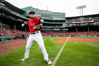BOSTON, MA - APRIL 23: Michael Chavis #23 of the Boston Red Sox warms up during his Fenway Park debut before a game against the Detroit Tigers on April 23, 2019 at Fenway Park in Boston, Massachusetts. (Photo by Billie Weiss/Boston Red Sox/Getty Images) *** Local Caption *** Michael Chavis