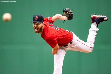 BOSTON, MA - APRIL 23: Chris Sale #41 of the Boston Red Sox delivers during the first inning of a game against the Detroit Tigers on April 23, 2019 at Fenway Park in Boston, Massachusetts. (Photo by Billie Weiss/Boston Red Sox/Getty Images) *** Local Caption *** Chris Sale