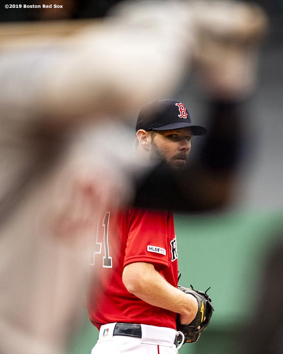 BOSTON, MA - APRIL 23: Chris Sale #41 of the Boston Red Sox catches the signs during the first inning of a game against the Detroit Tigers on April 23, 2019 at Fenway Park in Boston, Massachusetts. (Photo by Billie Weiss/Boston Red Sox/Getty Images) *** Local Caption *** Chris Sale