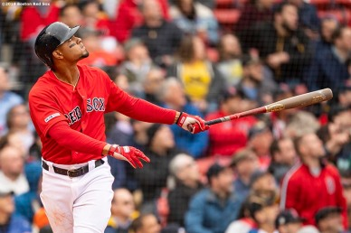 BOSTON, MA - APRIL 23: Xander Bogaerts #2 of the Boston Red Sox hits a game tying solo home run during the sixth inning of a game against the Detroit Tigers on April 23, 2019 at Fenway Park in Boston, Massachusetts. (Photo by Billie Weiss/Boston Red Sox/Getty Images) *** Local Caption *** Xander Bogaerts