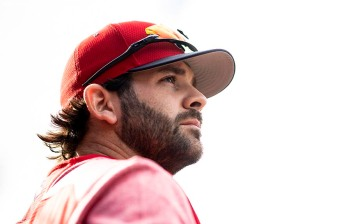 BOSTON, MA - APRIL 24: Mitch Moreland #18 of the Boston Red Sox looks on before a game against the Detroit Tigers on April 24, 2019 at Fenway Park in Boston, Massachusetts. (Photo by Billie Weiss/Boston Red Sox/Getty Images) *** Local Caption *** Mitch Moreland