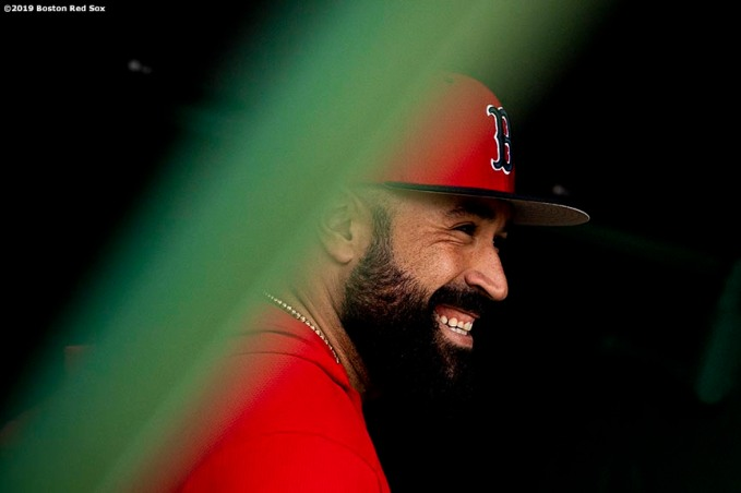BOSTON, MA - APRIL 24: Sandy Leon #3 of the Boston Red Sox reacts before a game against the Detroit Tigers on April 24, 2019 at Fenway Park in Boston, Massachusetts. (Photo by Billie Weiss/Boston Red Sox/Getty Images) *** Local Caption *** Sandy Leon