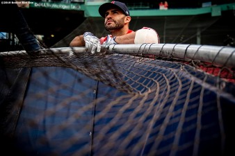 BOSTON, MA - APRIL 24: J.D. Martinez #28 of the Boston Red Sox looks on before a game against the Detroit Tigers on April 24, 2019 at Fenway Park in Boston, Massachusetts. (Photo by Billie Weiss/Boston Red Sox/Getty Images) *** Local Caption *** J.D. Martinez