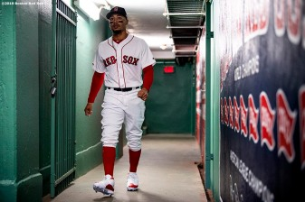 BOSTON, MA - APRIL 24: Mookie Betts #50 of the Boston Red Sox walks through the tunnel before a game against the Detroit Tigers on April 24, 2019 at Fenway Park in Boston, Massachusetts. (Photo by Billie Weiss/Boston Red Sox/Getty Images) *** Local Caption *** Mookie Betts