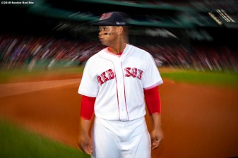 BOSTON, MA - APRIL 24: Rafael Devers #11 of the Boston Red Sox reacts before a game against the Detroit Tigers on April 24, 2019 at Fenway Park in Boston, Massachusetts. (Photo by Billie Weiss/Boston Red Sox/Getty Images) *** Local Caption *** Rafael Devers