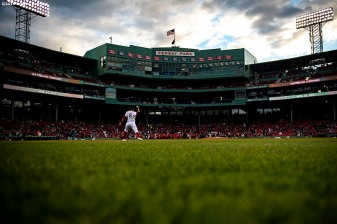 BOSTON, MA - APRIL 24: Xander Bogaerts #2 of the Boston Red Sox warms up before a game against the Detroit Tigers on April 24, 2019 at Fenway Park in Boston, Massachusetts. (Photo by Billie Weiss/Boston Red Sox/Getty Images) *** Local Caption *** Xander Bogaerts