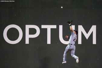 BOSTON, MA - APRIL 24: Jacoby Jones #21 of the Detroit Tigers makes a leaping catch during the sixth inning of a game against the Boston Red Sox on April 24, 2019 at Fenway Park in Boston, Massachusetts. (Photo by Billie Weiss/Boston Red Sox/Getty Images) *** Local Caption *** Jacoby Jones