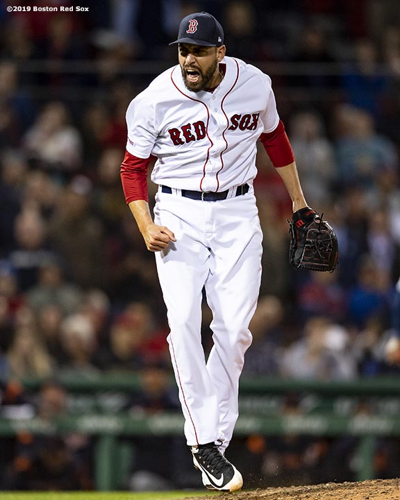 BOSTON, MA - APRIL 24: Matt Barnes #32 of the Boston Red Sox reacts during the eighth inning of a game against the Detroit Tigers on April 24, 2019 at Fenway Park in Boston, Massachusetts. (Photo by Billie Weiss/Boston Red Sox/Getty Images) *** Local Caption *** Matt Barnes