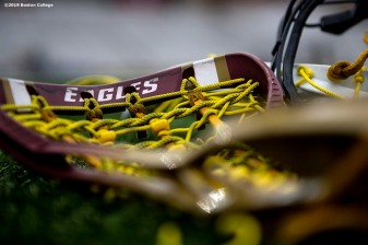 April 28, 2019 , Chestnut Hill, MA: Lacrosse sticks of Boston College are shown before the 2019 Women's Lacrosse ACC Championship game against the University of North Carolina at Alumni Stadium in Chestnut Hill, Massachusetts Sunday, April 28, 2019. (Photo by Billie Weiss/Boston College)