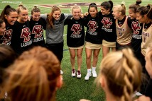 April 28, 2019 , Chestnut Hill, MA: Members of Boston College cheer in the huddle before the 2019 Women's Lacrosse ACC Championship game against the University of North Carolina at Alumni Stadium in Chestnut Hill, Massachusetts Sunday, April 28, 2019. (Photo by Billie Weiss/Boston College)